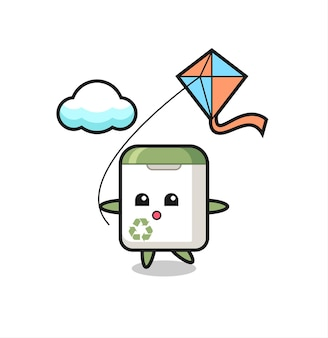 Illustration de mascotte de poubelle joue au cerf-volant, design de style mignon pour t-shirt, autocollant, élément de logo
