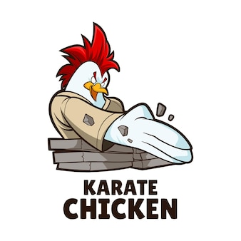 Illustration de mascotte de poulet de karaté