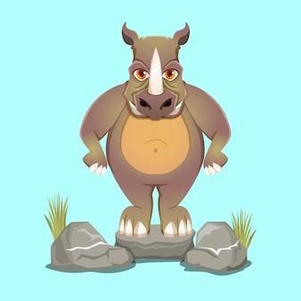 Illustration de mascotte de rhinocéros mignon dessin animé