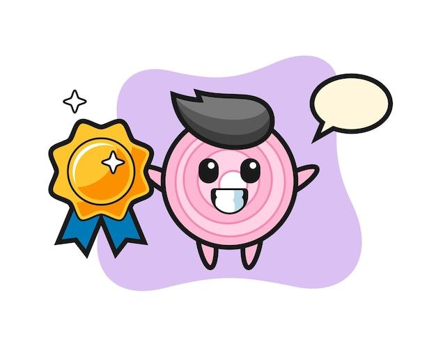 Illustration de mascotte de rondelles d'oignon tenant un badge doré, design de style mignon pour t-shirt, autocollant, élément de logo