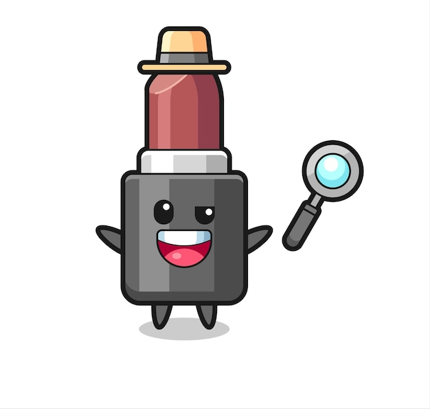 Illustration de la mascotte de rouge à lèvres en tant que détective qui parvient à résoudre une affaire, design de style mignon pour t-shirt, autocollant, élément de logo