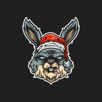 Illustration de mascotte de santa rabit