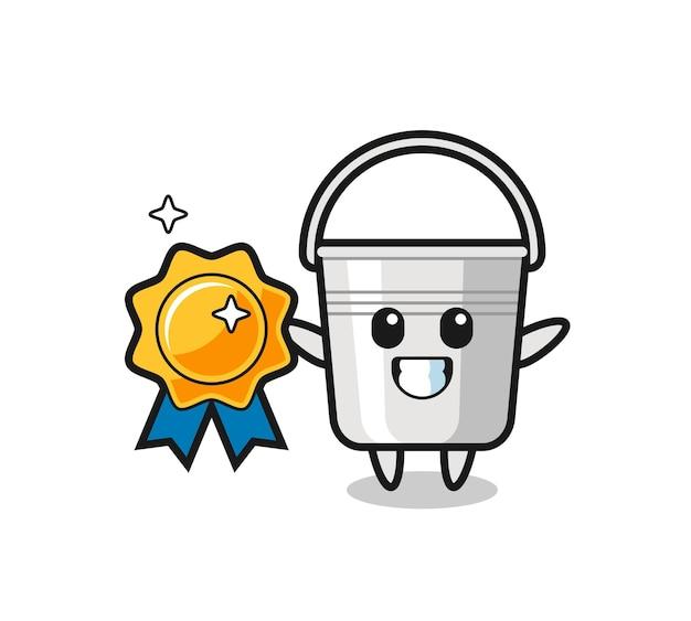 Illustration de mascotte de seau en métal tenant un badge doré, design de style mignon pour t-shirt, autocollant, élément de logo