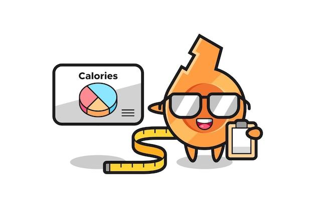 Illustration de la mascotte de sifflet en tant que diététicienne, design mignon