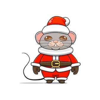 Illustration d'une mascotte de souris mignonne avec un costume pour noël