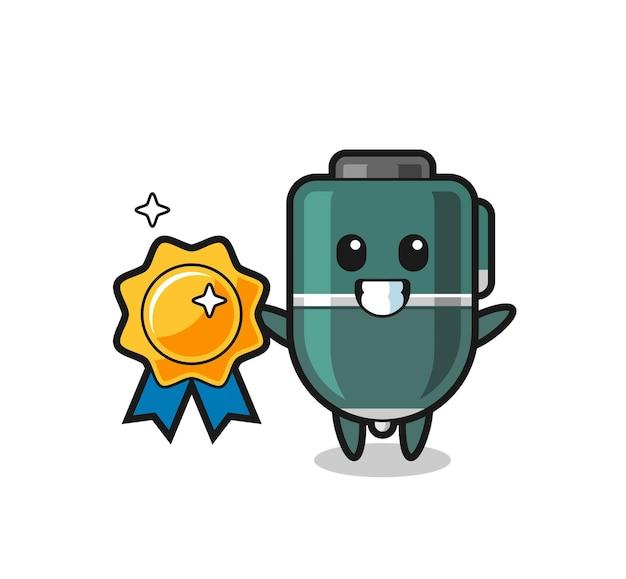 Illustration de mascotte de stylo à bille tenant un badge doré, design mignon