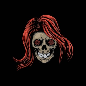 Illustration de mascotte tête crâne dames