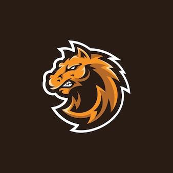 Illustration de mascotte de tête d'étalon de cheval création de logo de dessin animé mustang esport