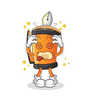 Illustration de mascotte tête étourdie stylo drôle