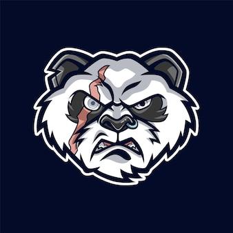 Illustration de mascotte tête de panda en colère