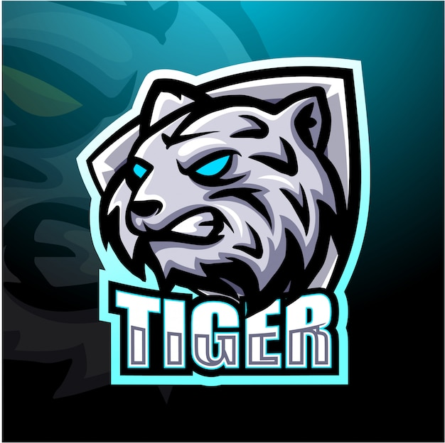 Illustration de mascotte de tigre blanc esport