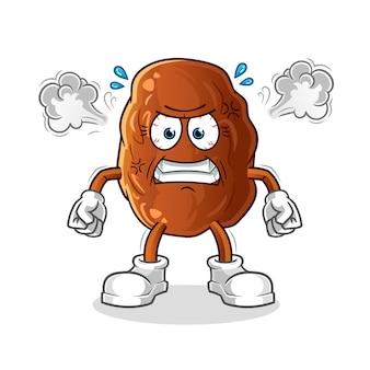 Illustration de mascotte très en colère de fruits de date