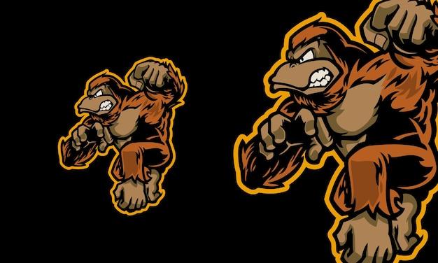 Illustration de mascotte de vecteur premium de jeu de gorille de logo