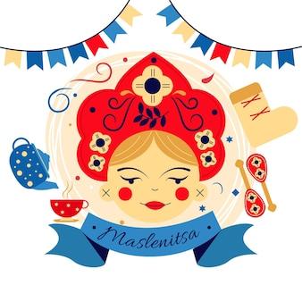 Illustration de maslenitsa plat