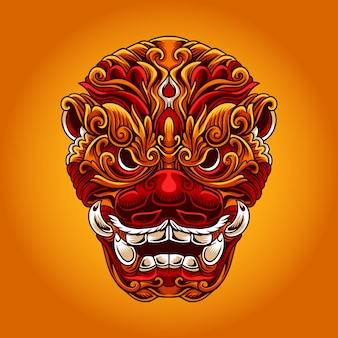 Illustration de masque chinois foo dog