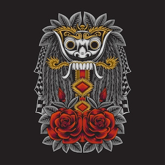 Illustration D'un Masque De Culture Balinaise Indonésienne Rangda Vecteur Premium