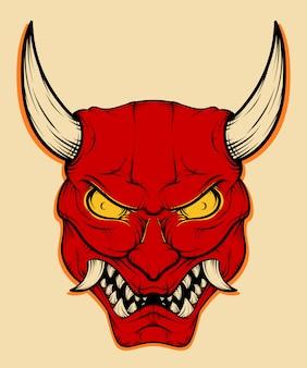 Illustration de masque de démon japonais