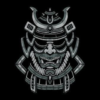 Illustration de masque de guerrier japonais