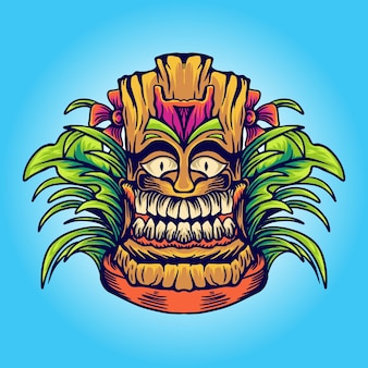 Illustration de masque hawaïen tiki