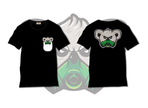 Illustration de masque de koala avec un design de t-shirt, dessiné à la main