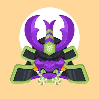 Illustration de masque de samouraï plat