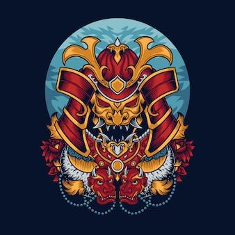 Illustration de masque de samouraï
