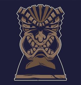 Illustration de masque tiki en colère tribal hawaï vintage.