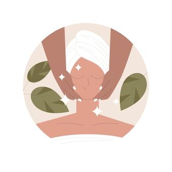 Illustration de massage du visage