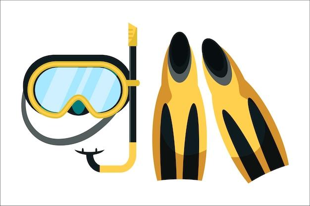 Illustration de matériel de plongée avec tuba palmes et masque de plongée isolés.