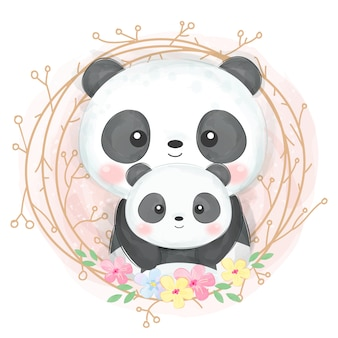 Illustration de maternité panda mignon