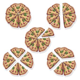 Illustration mathématique de pizza de fractions