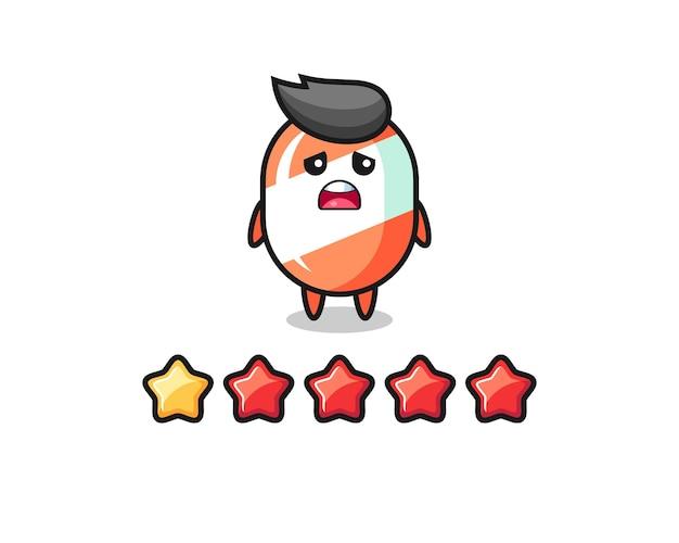 L'illustration de la mauvaise note du client, personnage mignon de bonbons avec 1 étoile, design de style mignon pour t-shirt, autocollant, élément de logo