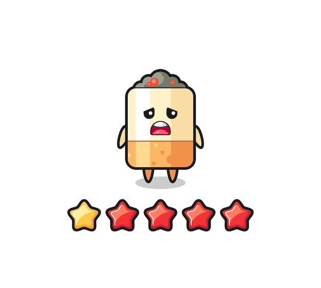 L'illustration de la mauvaise note du client, personnage mignon de cigarette avec 1 étoile, design mignon