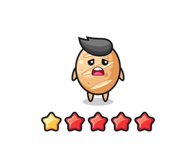 L'illustration de la mauvaise note du client, personnage mignon de pain français avec 1 étoile, design mignon