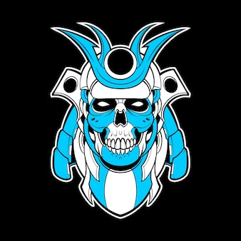 Illustration de méca de crâne de samouraï