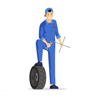 Illustration de mécanicien automobile professionnel. travailleur du service d'entretien automobile en personnage de dessin animé de combinaison. technicien automobile, réparateur automobile heureux, bricoleur tenant des outils