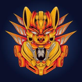 Illustration mécanique de chat, parfaite pour le logo de la mascotte