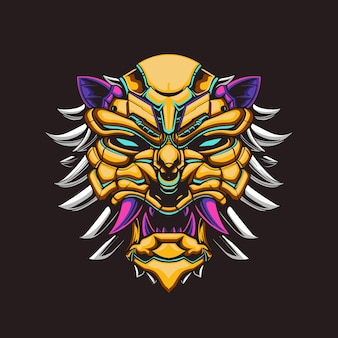 Illustration de mecha de tête de lion