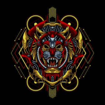 Illustration De Mecha Tiger Vecteur Premium