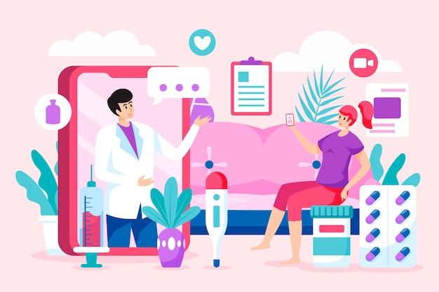 Illustration de médecin en ligne plat