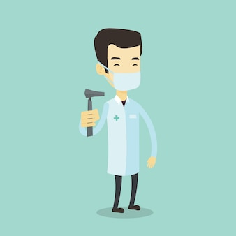 Illustration de médecin oreille nez gorge.