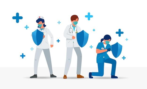 Illustration de médecins et d'infirmières tenant des boucliers protègent la santé