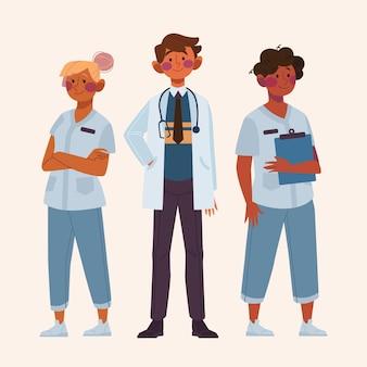 Illustration de médecins et infirmières