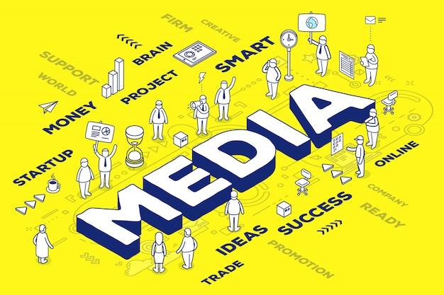 Illustration des médias de mot en trois dimensions avec des personnes et des étiquettes sur fond jaune avec schéma.