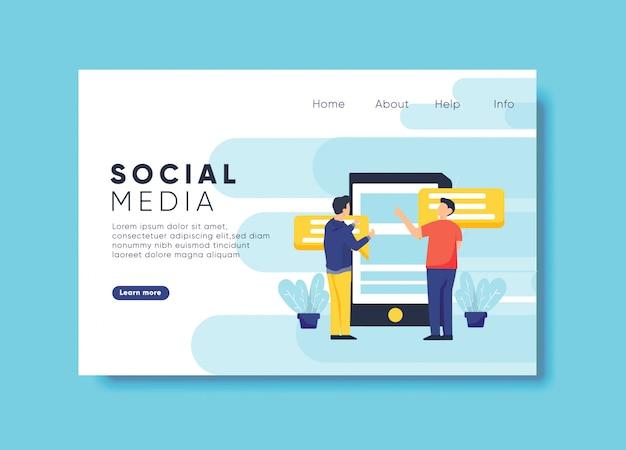 Illustration de médias sociaux pour le modèle de page de destination