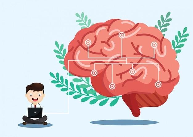 Illustration médicale scientifique de l'illustration de la course du cerveau humain