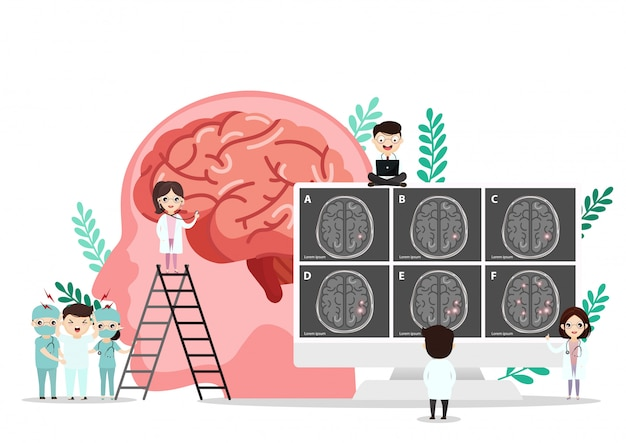 Illustration médicale scientifique de l'illustration de la course du cerveau humain