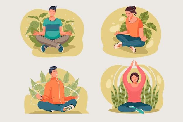 Illustration de méditation de personnes plates organiques