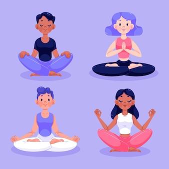 Illustration de méditation de personnes plates