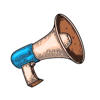 Illustration de mégaphone dans le style de gravure isolé sur fond blanc. élément de design pour affiche, carte, bannière, flyer. illustration vectorielle